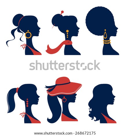 Beautiful  elegant women silhouettes set in vector format - stock vector