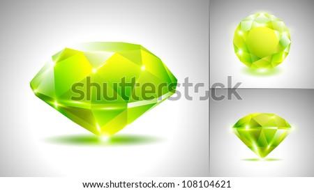 Beautiful emerald green diamond (vector set) - stock vector