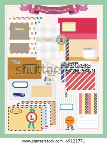 Beautiful Envelopes Scrapbooking Elements. Vector illustration.