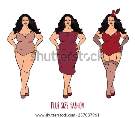 Beautiful European woman with curves, plus size model in three looks on white background, vector illustration  - stock vector