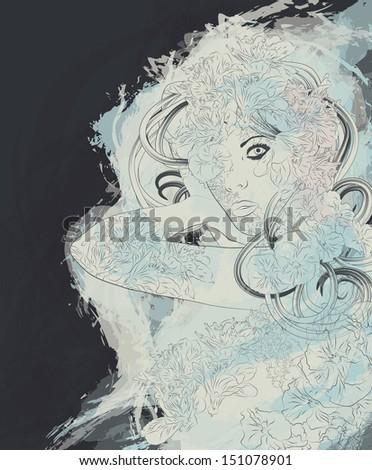 Beautiful exotic mystic nymph woman - stock vector