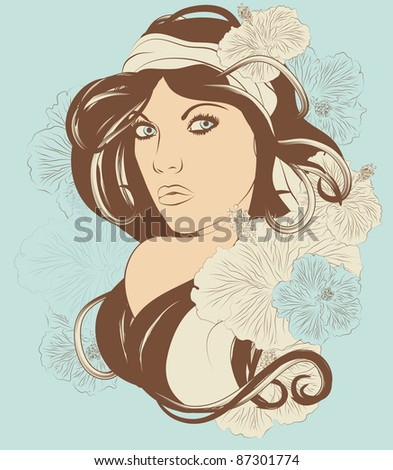 Beautiful exotic woman with long hair and flowers - stock vector