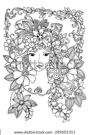 Beautiful face and flowers doodle in black and white - stock vector