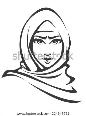 beautiful face of arabic muslim woman, vector illustration - stock vector