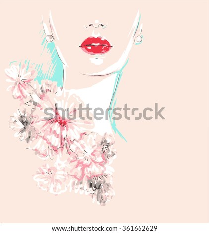 Beautiful face. woman portrait with flowers. abstract vector fashion illustration - stock vector