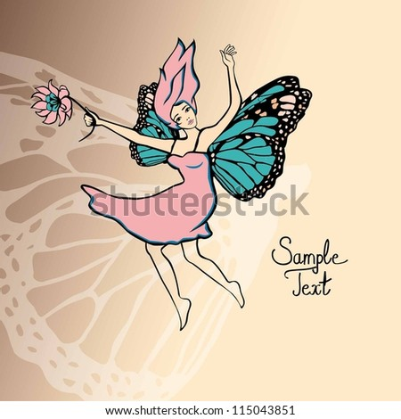 Beautiful fairy girl with flowers and wings. Vector Illustration - stock vector