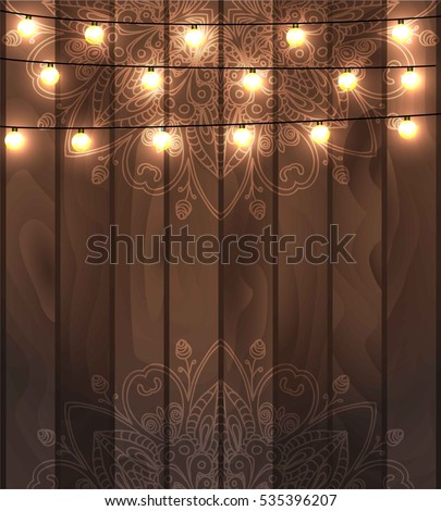 oriental lighting. Beautiful Fanciful Hand Drawn Doodle Oriental Ornament And Lighting Garland Festive Decoration, On Wooden Realistic