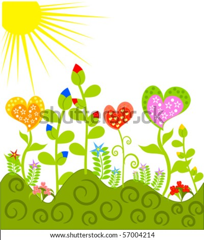 Beautiful fantasy meadow with various colorful flowers - stock vector