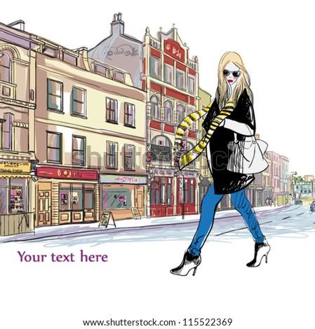 beautiful fashion girl on the street. vector illustration - stock vector