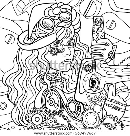 Beautiful Fashion Girl With Abstract Hair And Steam Punk Design Coloring Book For Adults