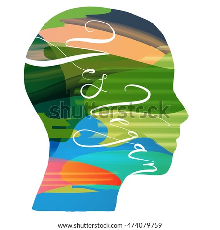 Beautiful fashion head with abstract and design elements