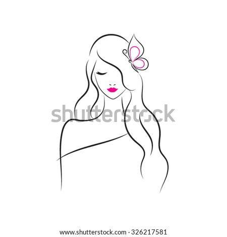 Beautiful fashion model with long hair, vector. Beauty salon logo element. - stock vector