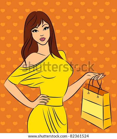 Beautiful fashion shopping girl. Vector