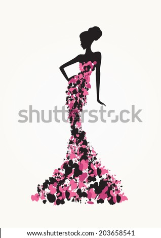 Beautiful fashion woman in abstract dress - stock vector
