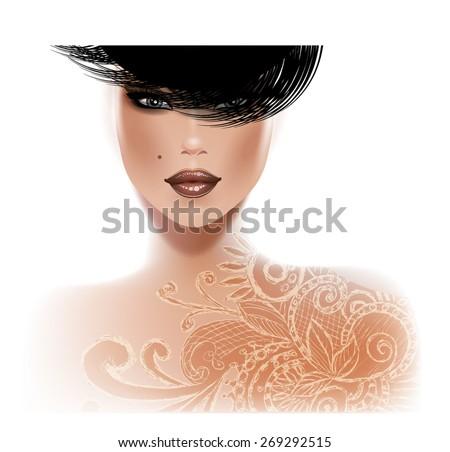Beautiful fashion woman with tattoo - stock vector