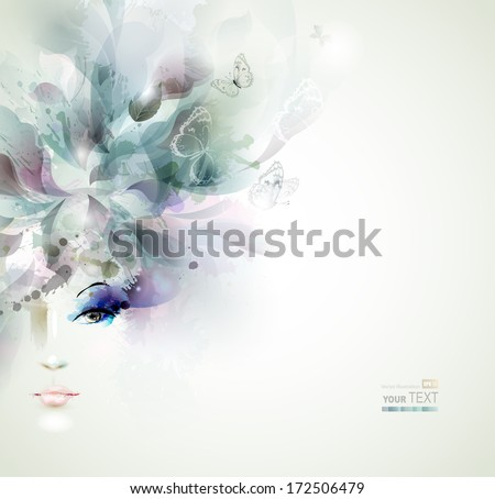 Beautiful fashion women face with abstract elements and butterflies  - stock vector