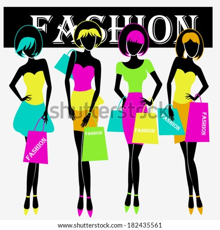 Beautiful fashion women shopping/  Fashion women