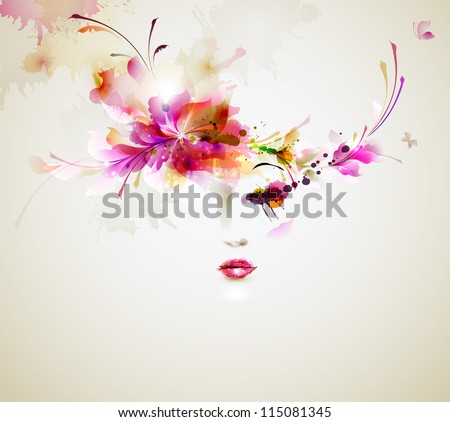 Beautiful fashion women with abstract  design elements - stock vector