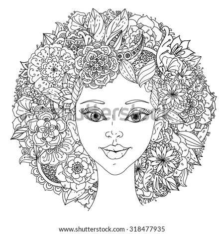Beautiful fashion women with abstract hair and floral design elements could be used  for coloring book.  Black and white in zentangle style. - stock vector