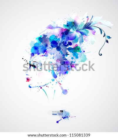 Beautiful fashion women with blue abstract hair and design elements - stock vector