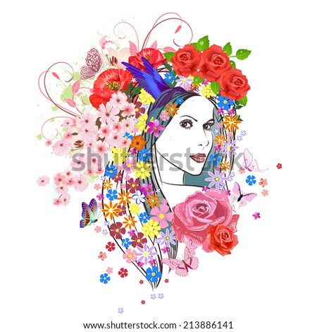 beautiful fashion young woman with flowers in hair. portrait of a enchantress - stock vector