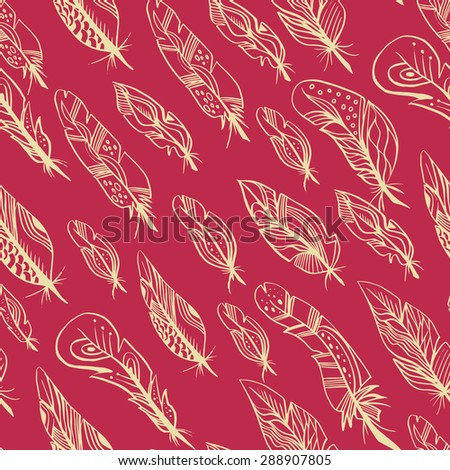 Beautiful feathers seamless background. Soft feather print. Chaotically located on a red background. - stock vector