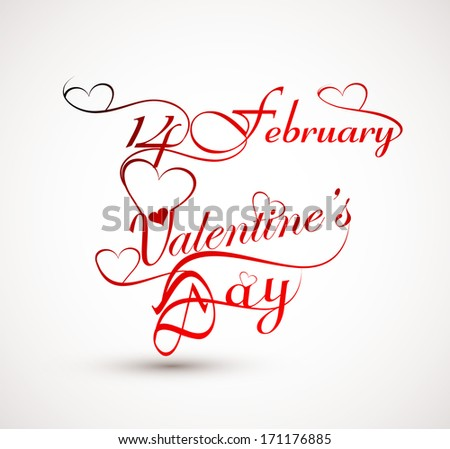 Beautiful 14 February stylish calligraphy text design for valentine's day card vector