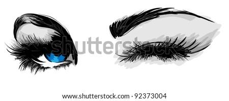 beautiful female eyes - stock vector