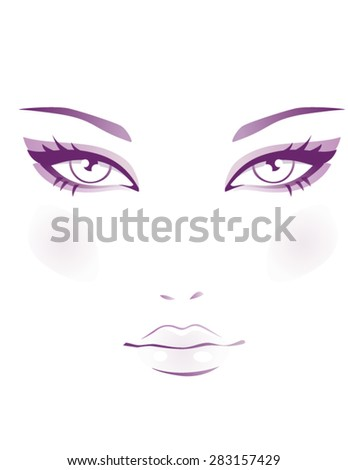 Beautiful female face - stock vector