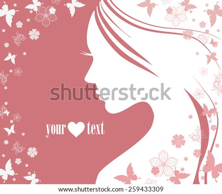 Beautiful female face silhouette in profile. - stock vector