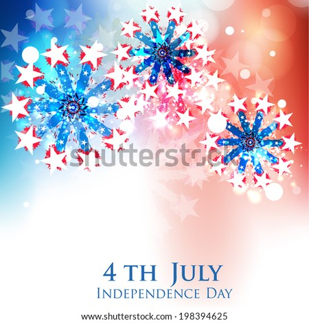 Beautiful fireworks in the sky for American Independence Day, 4th of July celebrations.  - stock vector