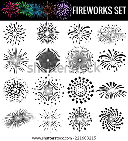 Beautiful Fireworks on white  background - stock vector