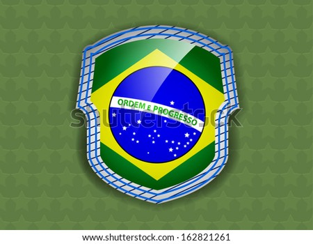 Beautiful flag of Brazil shield on a green stars background