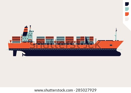 Beautiful flat four colored vector loaded container ship decorative element | Modern global cargo shipping design element. Ideal for shipment and international trade infographics and web articles  - stock vector