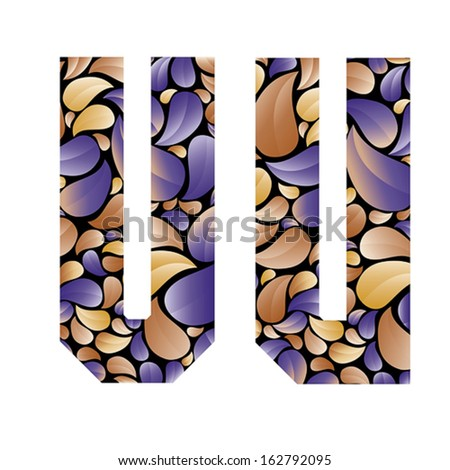 Beautiful floral alphabet, vintage style patterned flower petals geometric shaped letters, bold geometric poster condensed alphabet, vector letter v and letter u. Letter shapes designed specially. - stock vector
