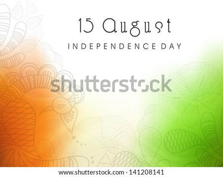 Beautiful floral background in national flag colors for Indian Independence Day. - stock vector