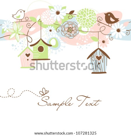 Beautiful Floral background with bird houses, birds and flowers - stock vector