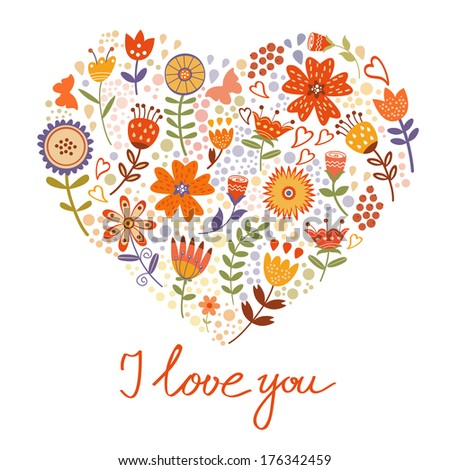 Beautiful floral card with flowers composed in a heart - stock vector