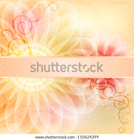 Beautiful floral card with ribbon - stock vector