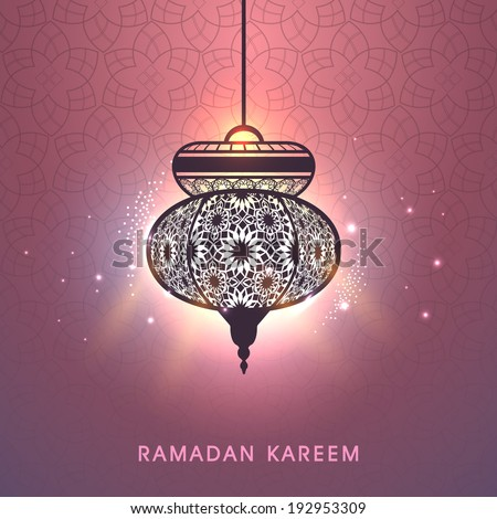 Beautiful floral decorated illuminate arabic lantern on shiny peach background, greeting card design for Ramadan Kareem, holy month of Ramadan Kareem.  - stock vector