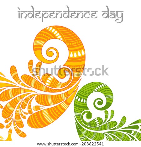 Beautiful Floral decorated Indian Independence Day background. - stock vector