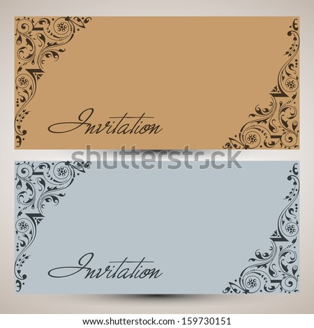 Beautiful floral decorated Invitation card for wedding and other ceremony. - stock vector