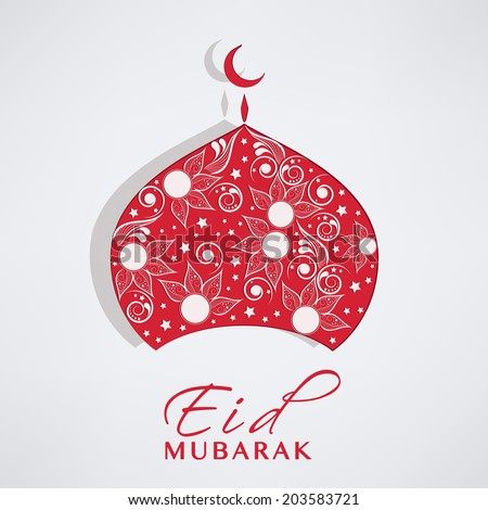 Beautiful floral decorated red mosque on blue background for Muslim community festival Eid Mubarak celebrations.  - stock vector