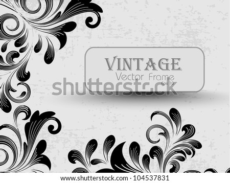Beautiful floral decorated vintage illustration with a frame and copy space for your text. EPS 10. - stock vector