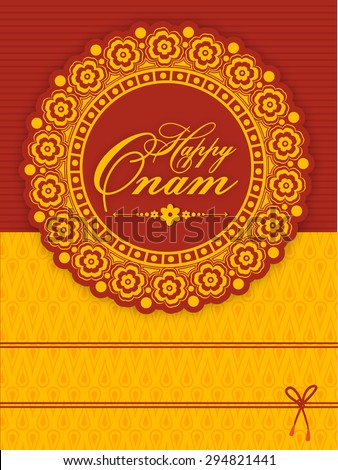 Beautiful floral design decorated greeting or invitation card for South Indian famous festival, Happy Onam celebration. - stock vector
