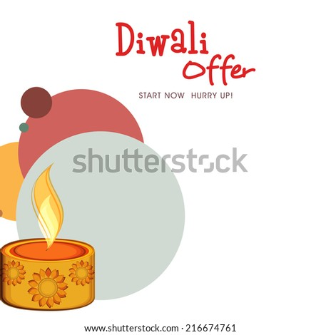 Beautiful floral design decorated oil lit lamp on creative colorful background for Diwali festival offer.