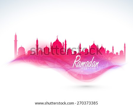 Beautiful floral design decorated pink Mosque for Islamic holy month of prayer, Ramadan Kareem celebration.  - stock vector