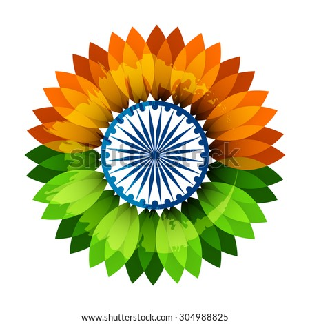 Beautiful floral design flag colors on white background for Happy Indian Independence Day  - stock vector