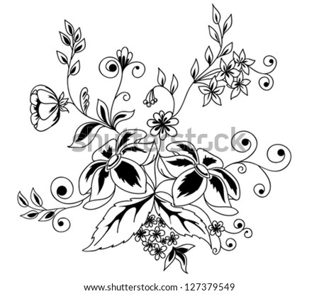 Beautiful floral element. Black-and-white flowers and leaves design element with imitation guipure embroidery.. Many similarities to the author's profile. - stock vector
