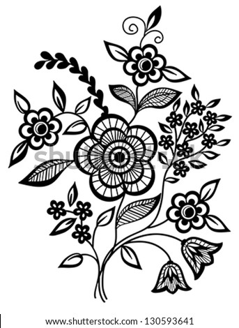 Beautiful floral element. Black-and-white flowers and leaves design element with imitation guipure embroidery. Many similarities to the author's profile - stock vector